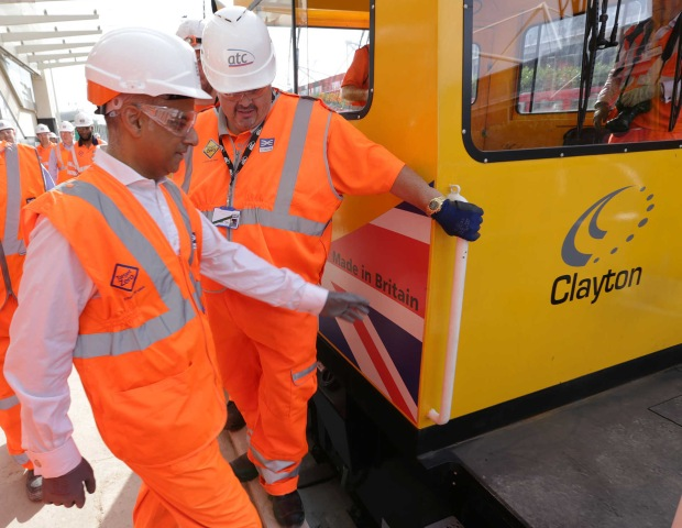 London Mayor Sadiq Khan becomes Crossrail's first passenger in a Clayton Equipment CD40 locomotive